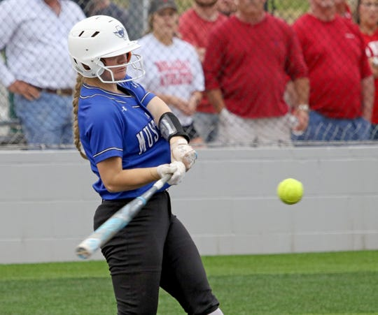 City View's Mackenzie Cave hits a popup against Holliday Monday, April 22, 2019, in Iowa Park.