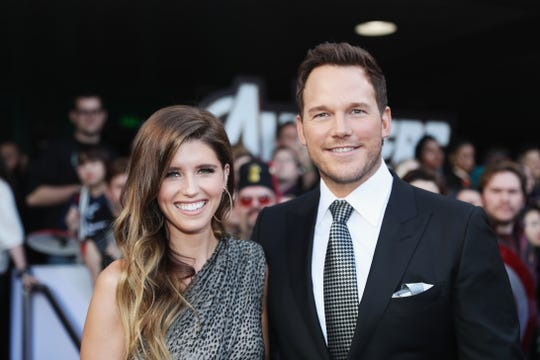 "Chris Pratt and Katherine Schwarzenegger make their red carpet debut at the world premiere of ""Avengers: Endgame"" at the Los Angeles Convention Center on April 23, 2019."