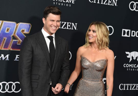 "Colin Jost, left, and Scarlett Johansson coupled up at the premiere of ""Avengers: Endgame"" on Monday, April 22."