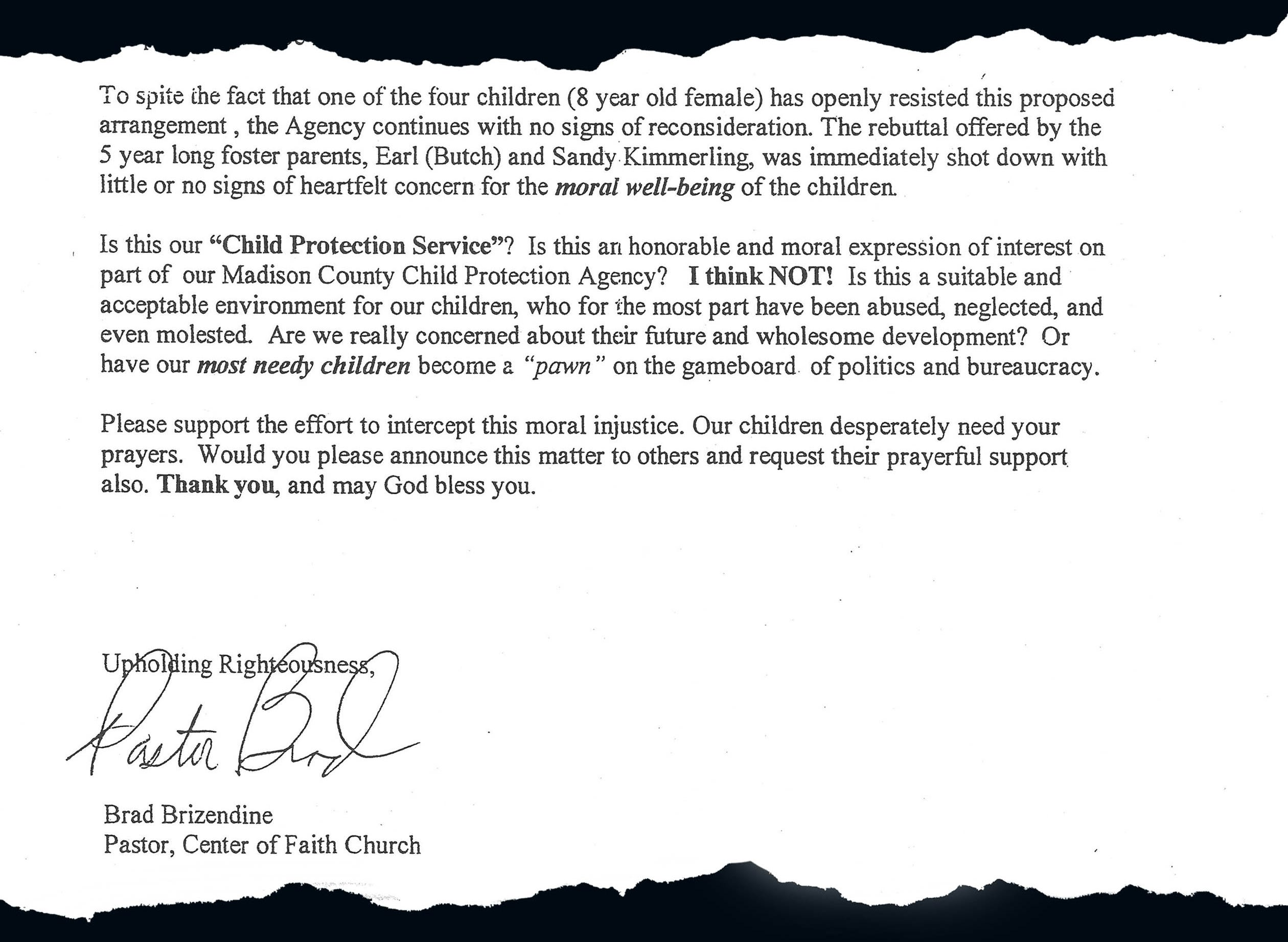 A portion of the letter Brad Brizendine, pastor of Center of Faith Church, sent to area churches.