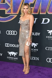 """Scarlett Johansson took a glamorous turn on the red carpet at Monday's world premiere of """"Avengers: Endgame"""" in Los Angeles."""