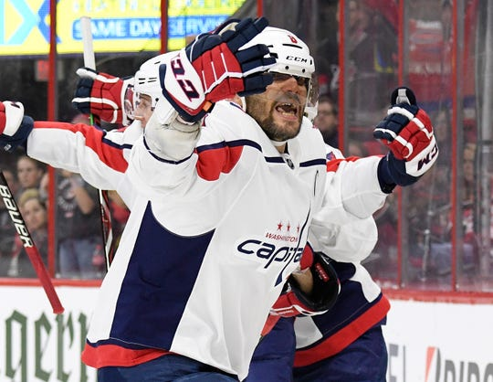 Capitals star Alex Ovechkin celebrates after an apparent goal in the third period before learning it was waved off.