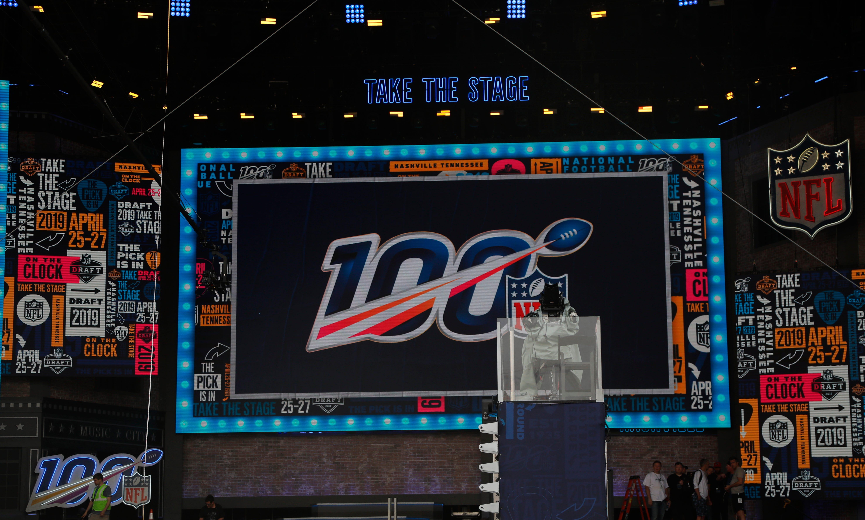 Crews set up stage for the NFL draft in Nashville.