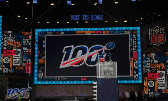 Crews set up stage for the NFL draft in Nashville.