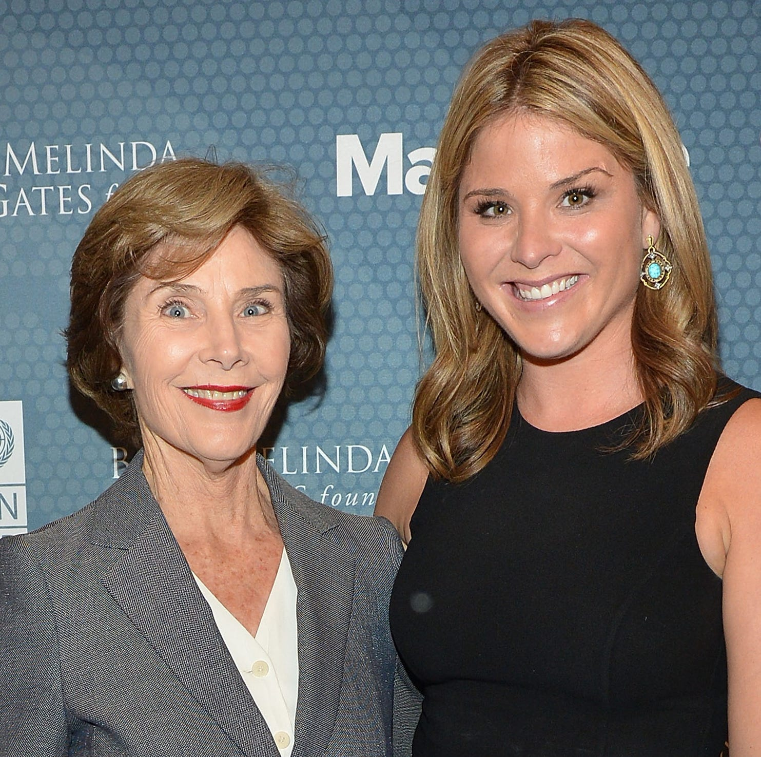 Former First Lady of the United States Laura Bush and daughter author Jenna Bush Hager attend the 2014 Social Good Summit at 92Y on September 22, 2014 in New York City.