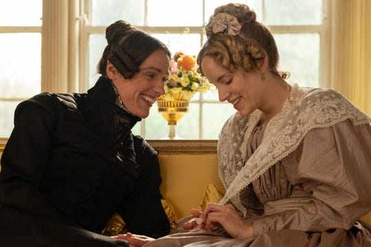 "Suranne Jones as Anne Lister and Sophie Rundle as Ann Walker on ""Gentleman Jack."""