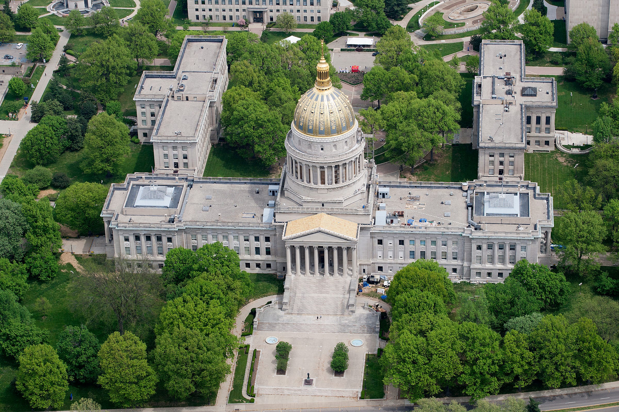 Aerial of West Virginia State Capitol in Charleston, W.Va.