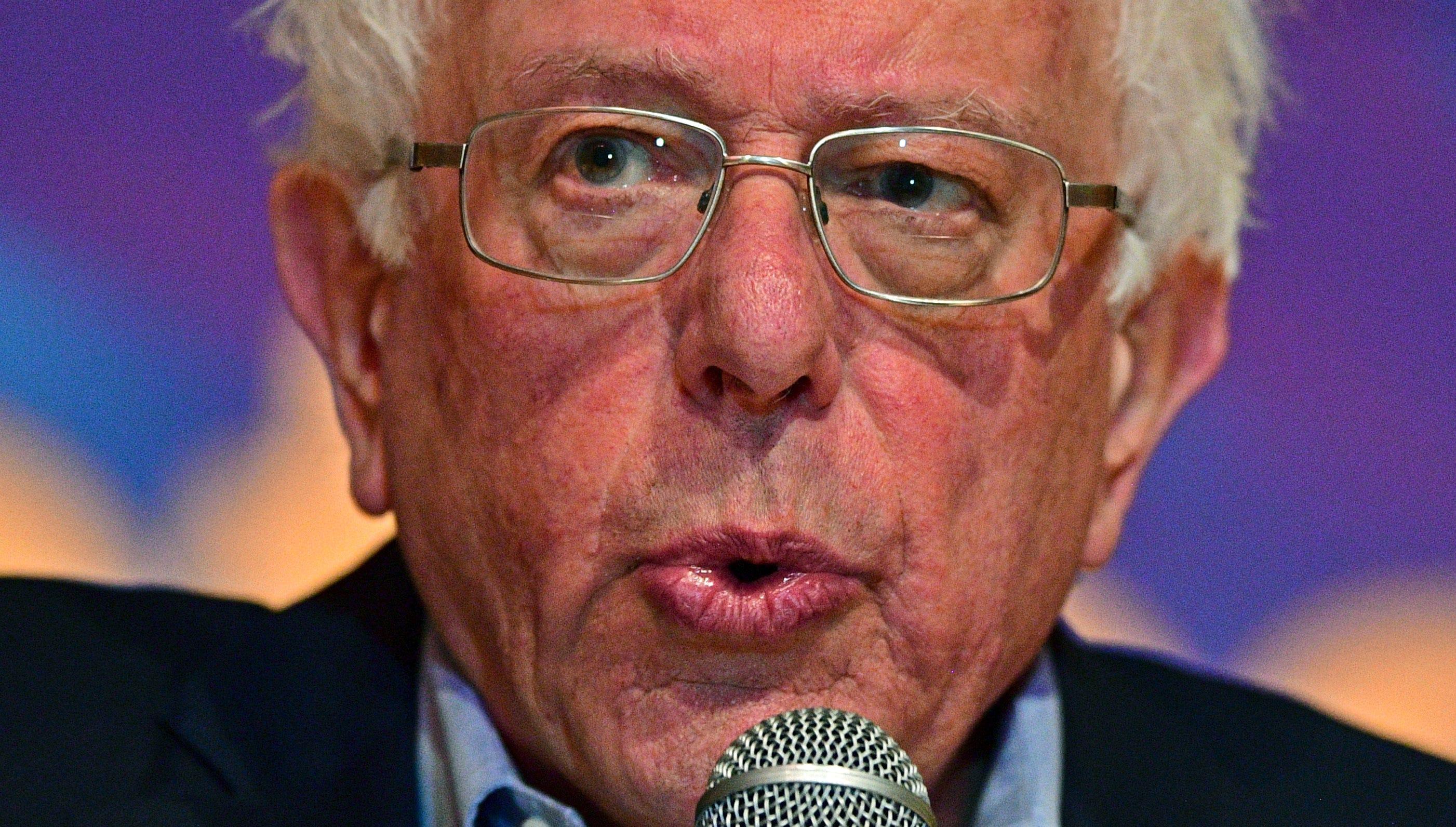 Sen. Bernie Sanders, I-Vt., speaks at an Ohio workers town hall meeting, Sunday, April 14, 2019, in Warren, Ohio.