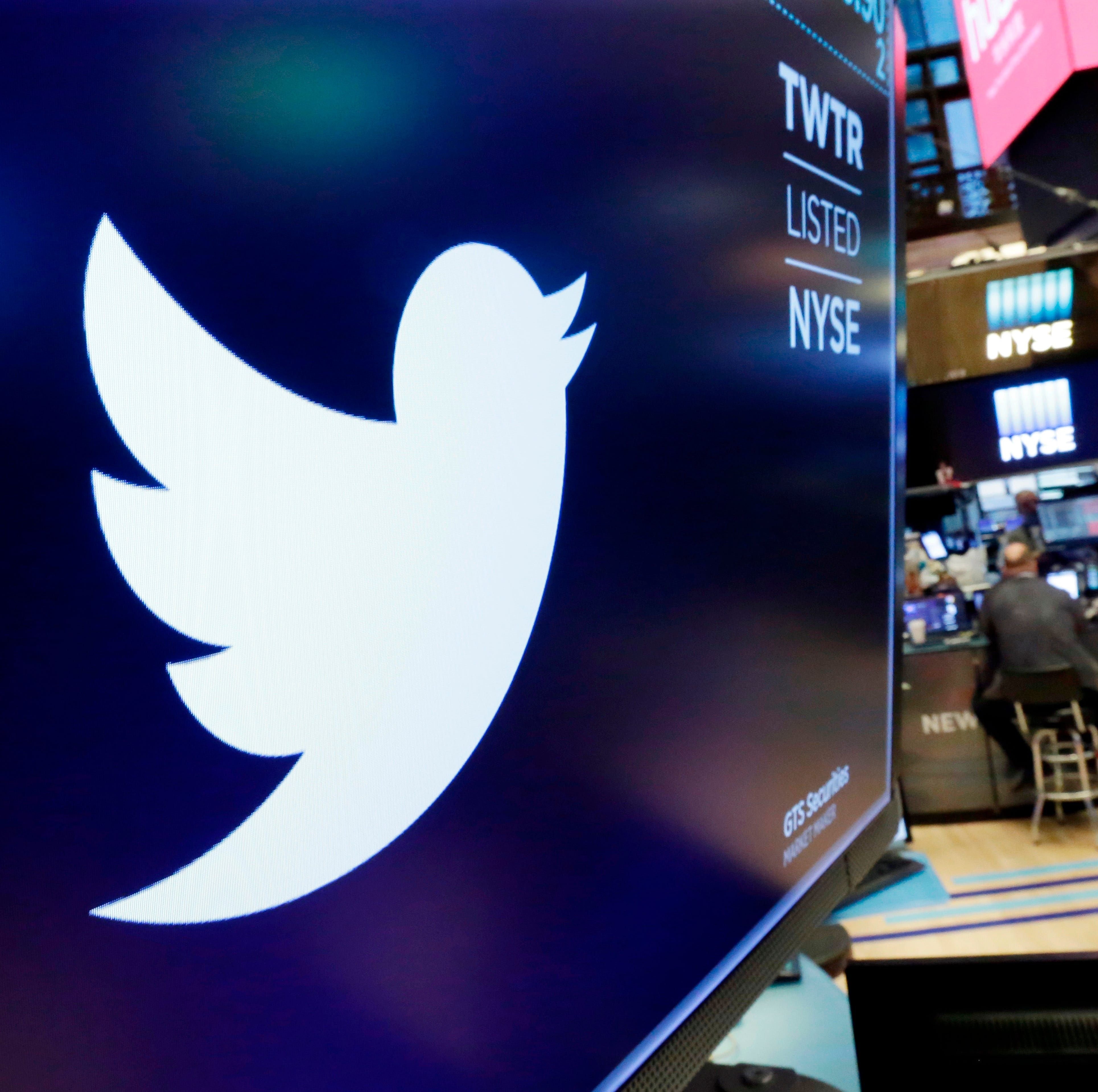 Twitter logo at the New York Stock Exchange on...