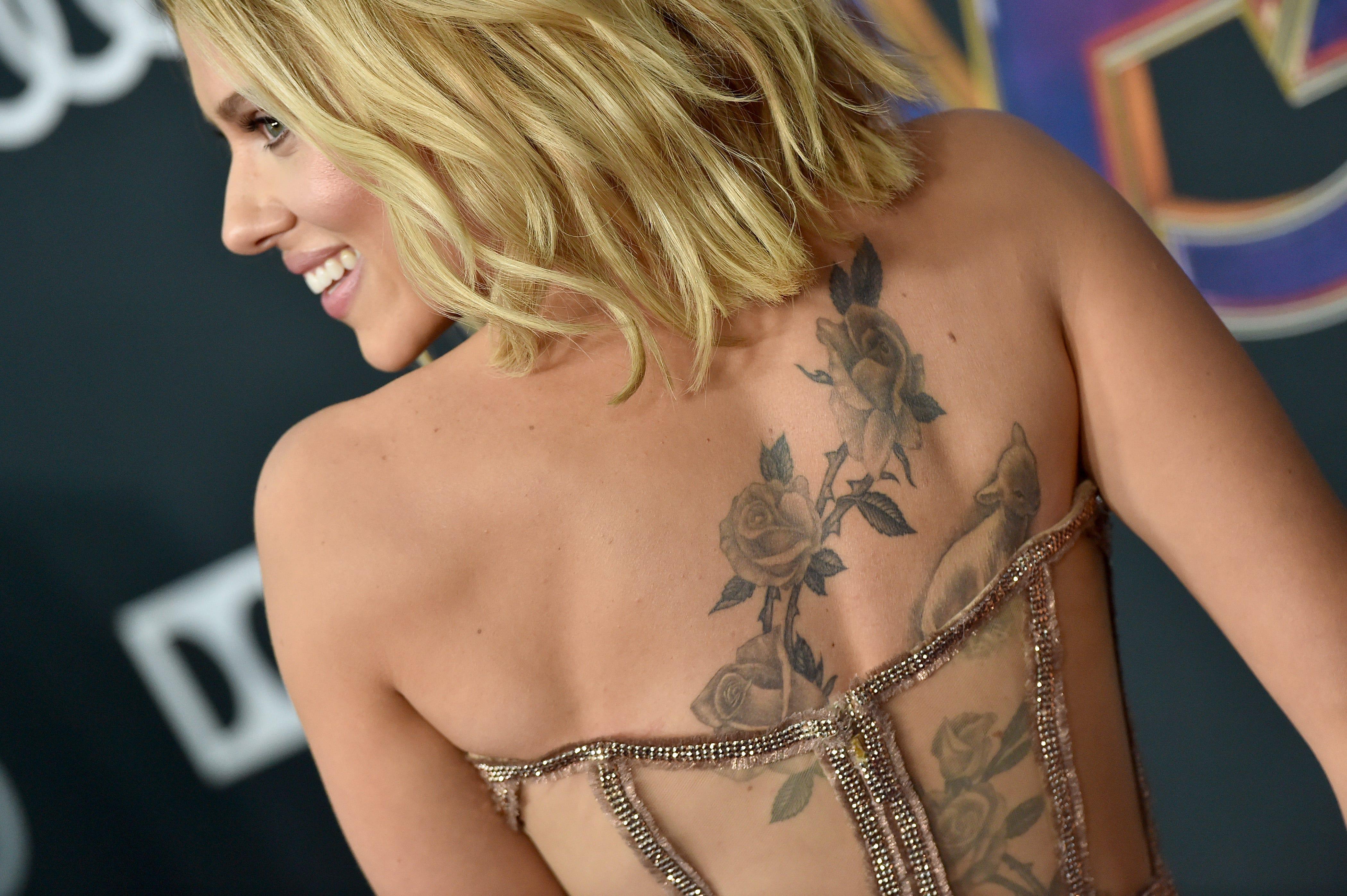 Scarlett Johansson S Huge Tattoo Stuns At Avengers Endgame Premiere