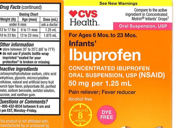 Infant ibuprofen liquid sold under Walmart, CVS Pharmacy and Family Dollar brands were impacted by the recall.
