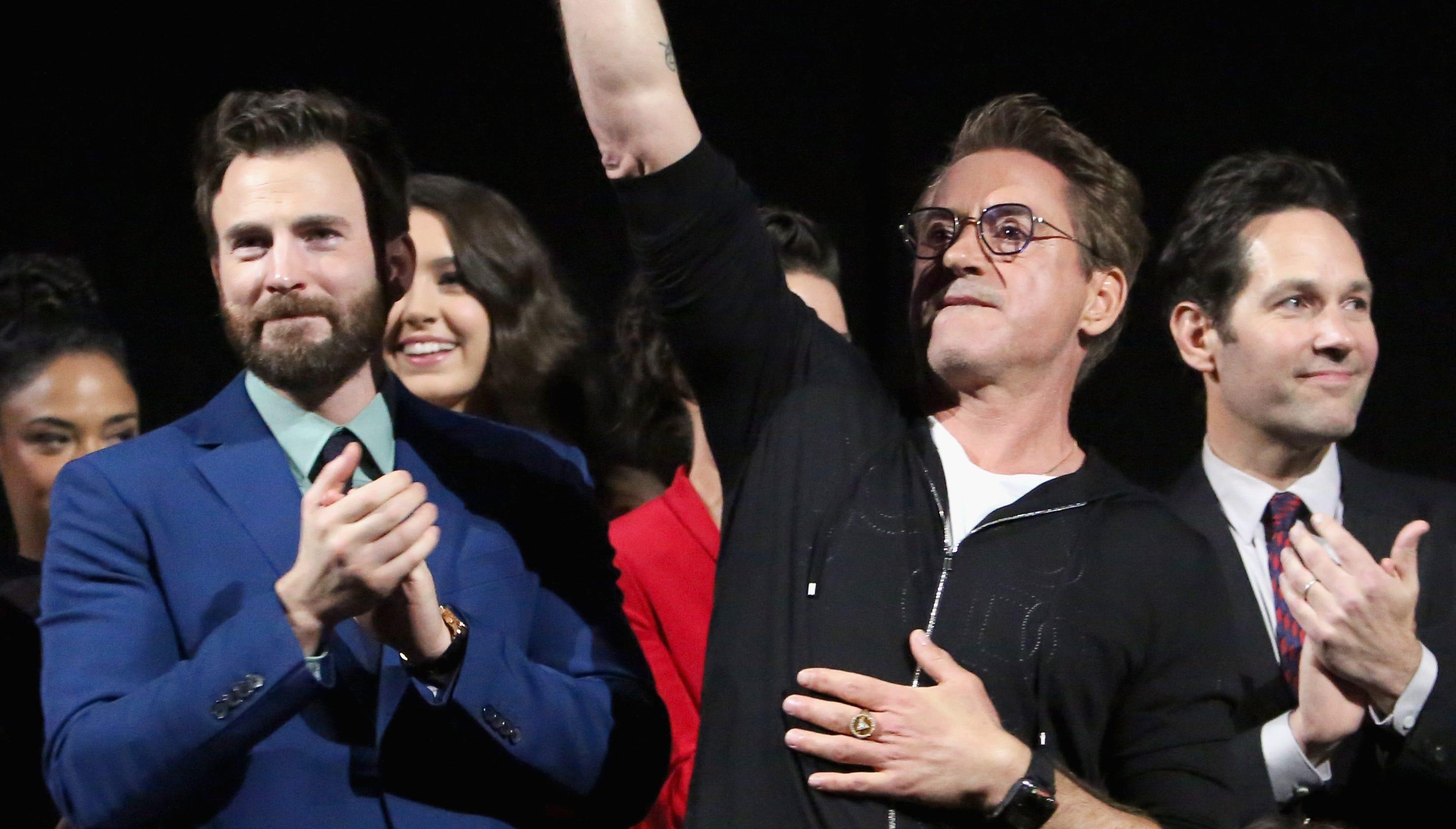 Avengers Endgame Chris Evans Robert Downey Jr Choke Up At Premiere