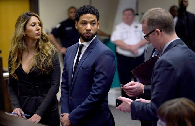 Jussie Smollet with his attorney Tina Glandian in court in Chicago on March 14, 2019.