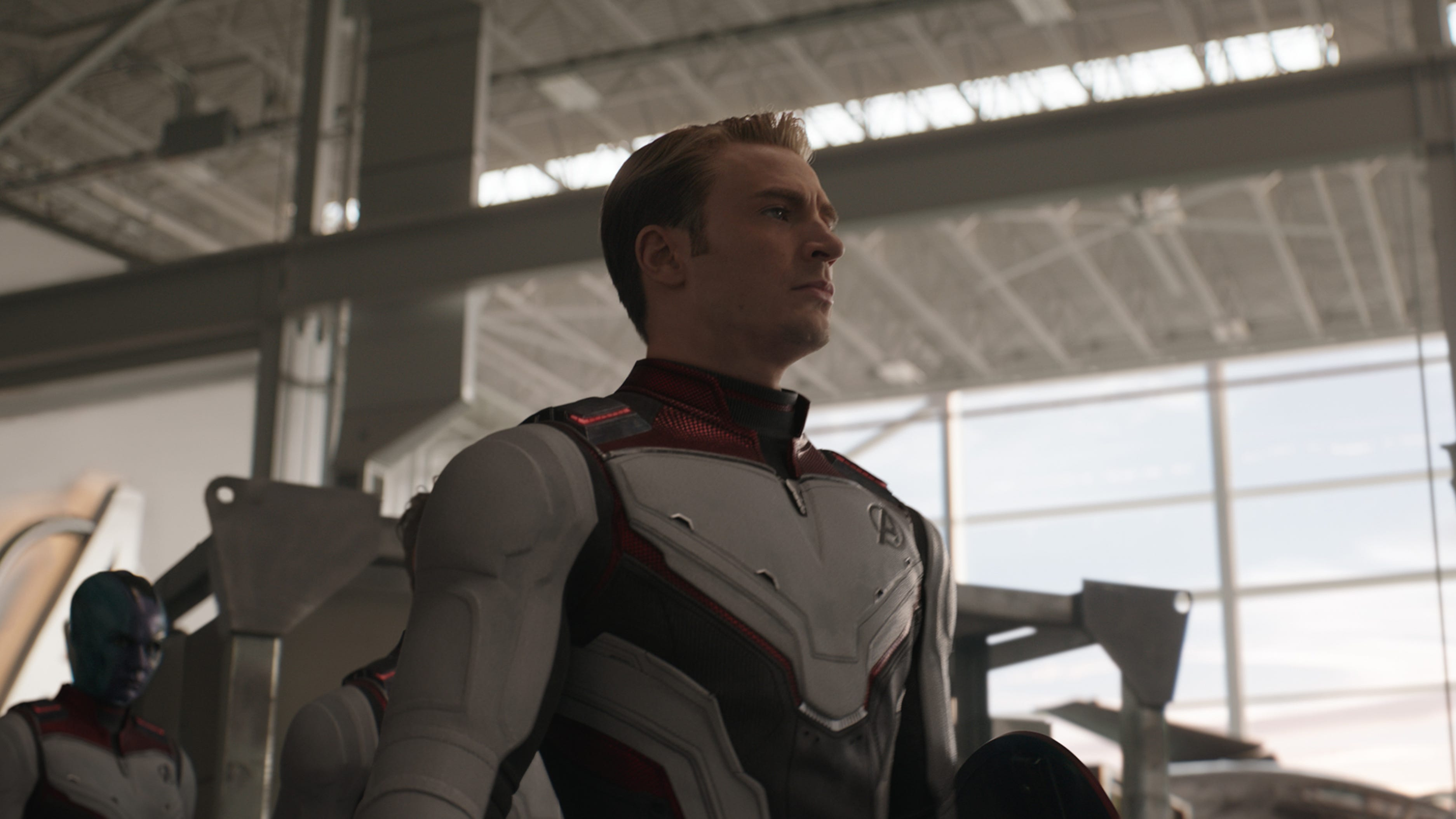 "Captain America (Chris Evans) leads his crew into space in ""Avengers: Endgame."""