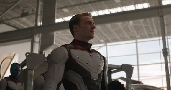 "Captain America (Chris Evans) goes back to the past on a time heist with his superfriends in ""Avengers: Endgame."""