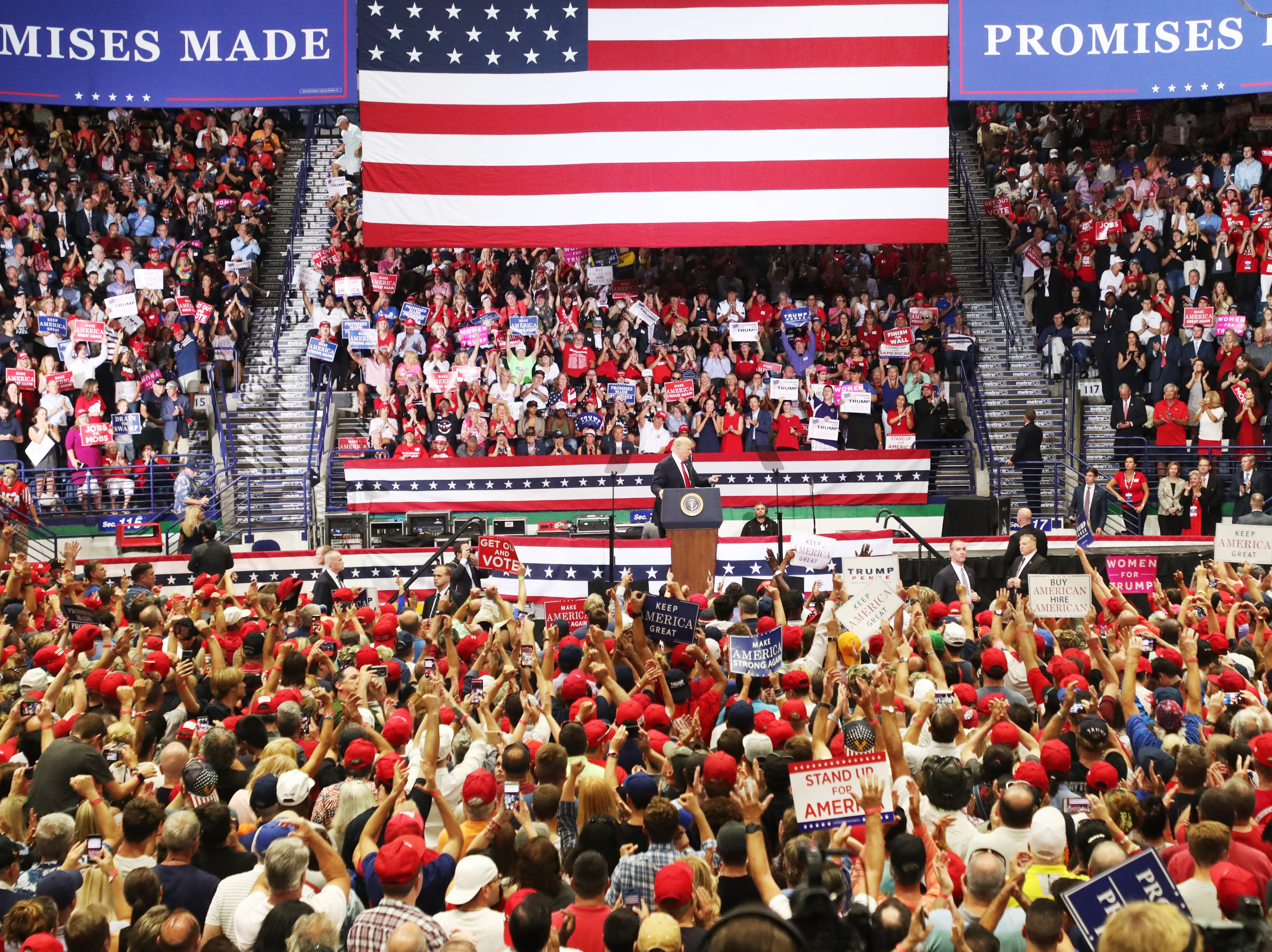 Donald Trump speaks at the Make America Great Again rally at Hertz Arena in Estero on Wednesday Oct. 31, 2018.