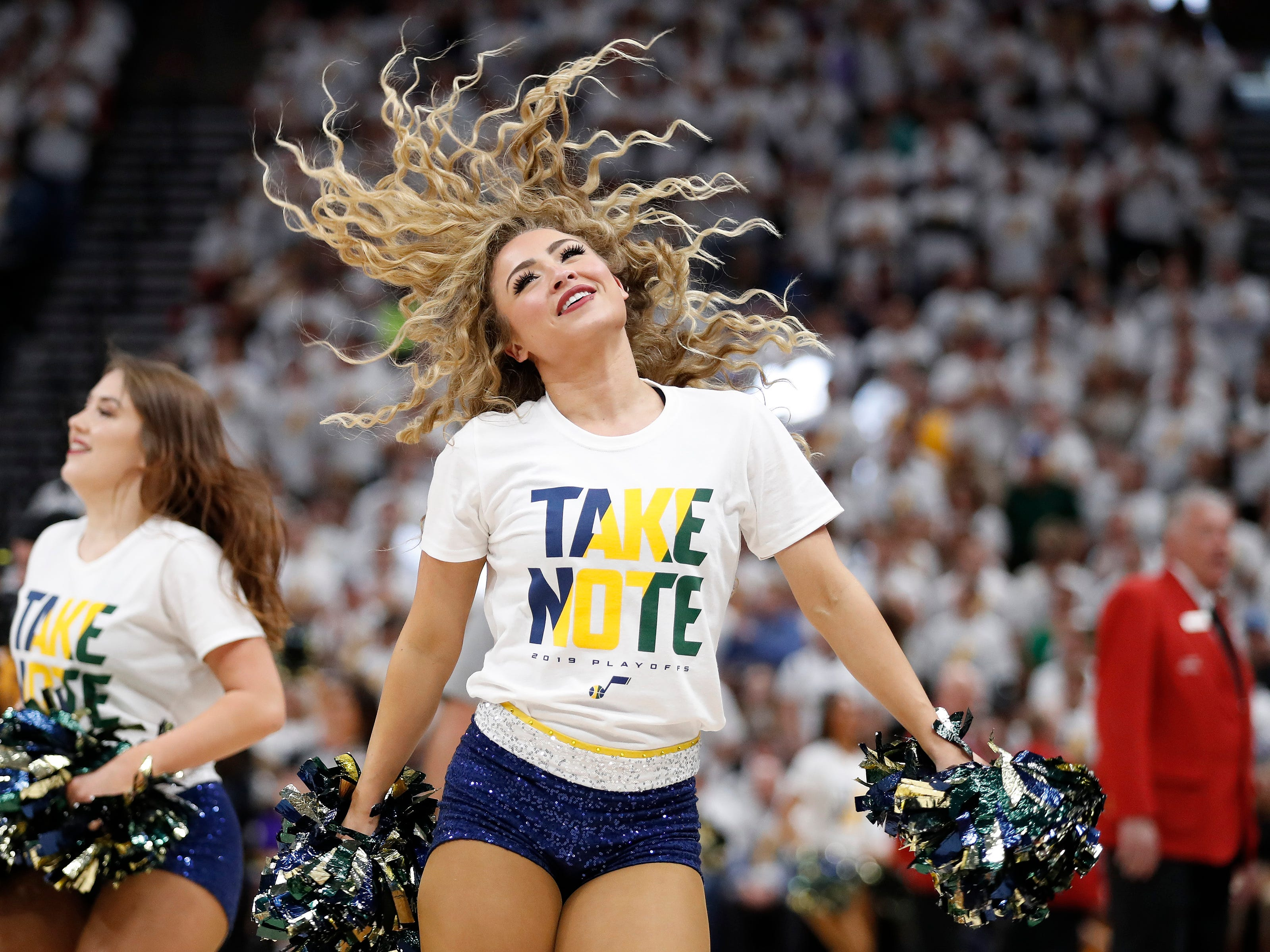 April 22: Jazz cheerleaders perform during Game 4 against the Rockets.