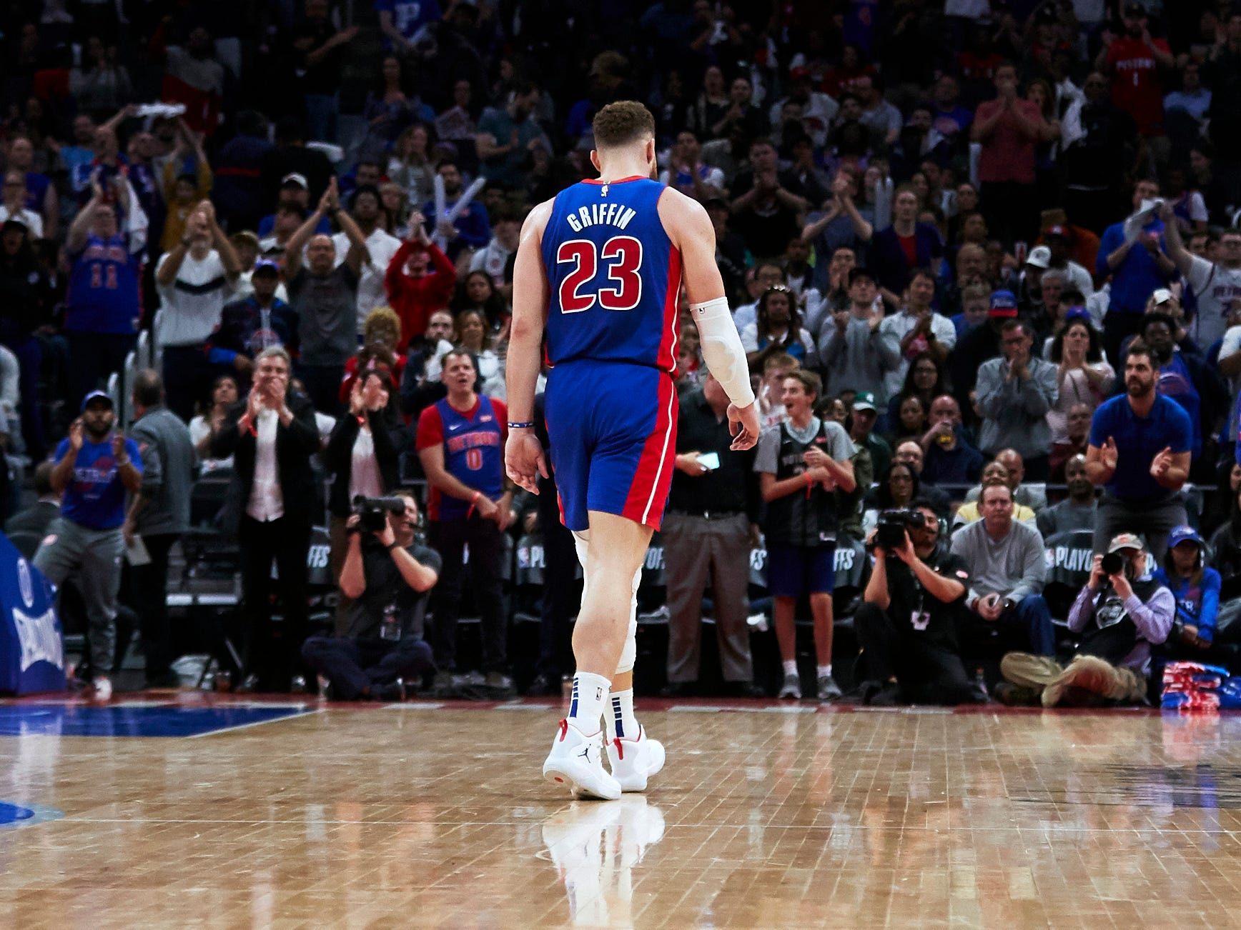April 22: Pistons forward Blake Griffin gets a standing ovation as he leaves the floor after fouling out against the Bucks in Game 4.