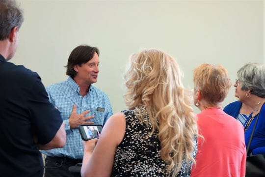 Kevin Sorbo speaks at the Greenville Convention Center Tuesday, April 23, 2019.