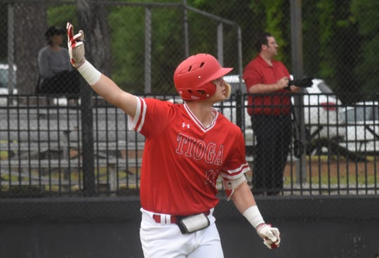 Tioga's Rylon Ganey (16) watches as he hits a home run against Westgate High School Tuesday, April 23, 2019 in the  2019 Allstate Sugar Bowl/LHSAA Baseball State Tournament Class 4A playoff game. Tioga won 10-0.