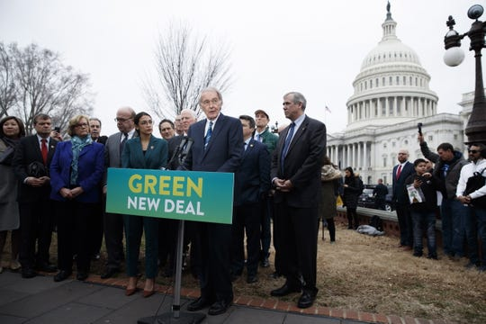 Sen. Ed Markey of Massachusetts and Rep. Alexandria Ocasio-Cortez of New York deliver remarks on the Green New Deal resolution Thursday on Capitol Hill in Washington, D.C.  SHAWN THEW/EPA-EFE epa07351004 US Democratic Senator from Massachusetts Ed Markey (R), with Democratic Representative from New York Alexandria Ocasio-Cortez (L), delivers remarks on the 'Green New Deal' resolution during a press conference on Capitol Hill in Washington, DC, USA, 07 February 2019. The resolution emphasizes massive public investment in wind and solar production, zero-emission vehicles and high-speed rail, energy-efficient buildings, and smart power grids, as well as 'working collaboratively' with farmers and ranchers to move towards sustainable agriculture techniques.  EPA-EFE/SHAWN THEW