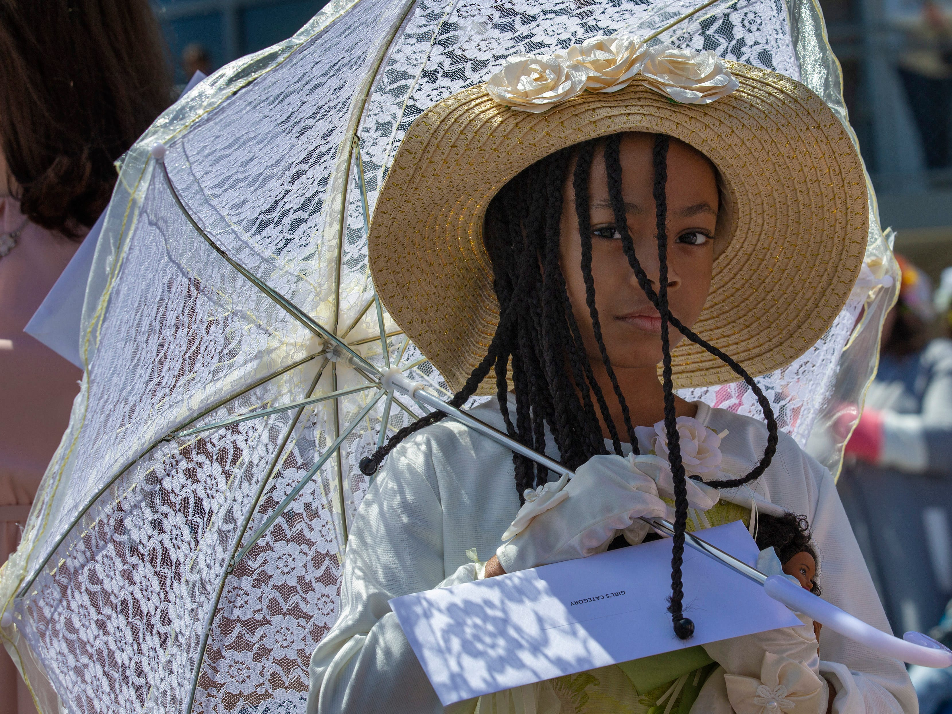 Alia Smith, 6, of Neptune during girls judging at the Asbury Park Easter Parade on the boardwalk outside the Paramount Theatre in Asbury Park on April 21, 2019.