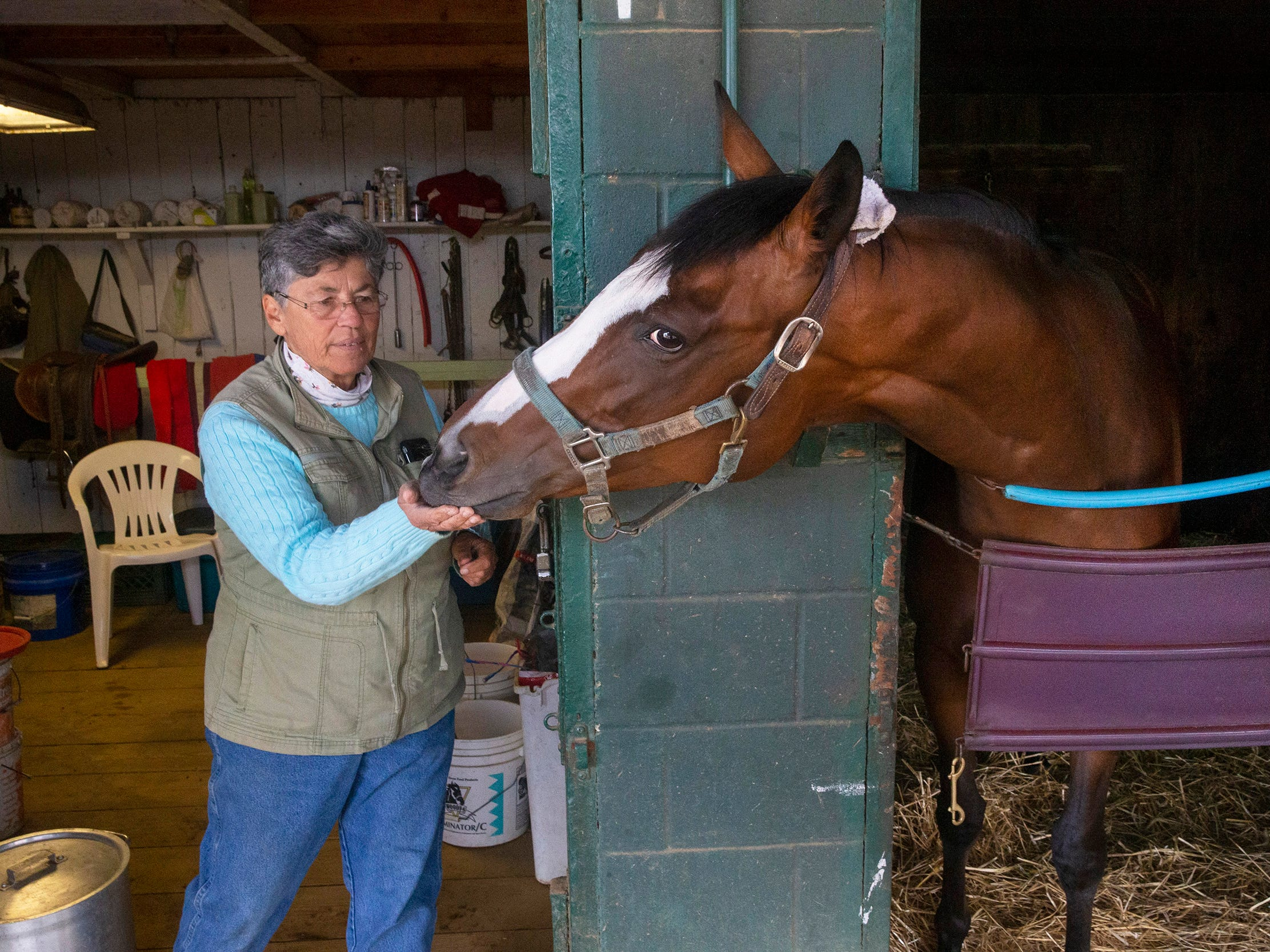 Berri Kromann of Monroe gives a treat to her horse Mad Hatter. Monmouth Park backstretch comes to life as trainers and horses arrive in preperation for the May 4 opening day.