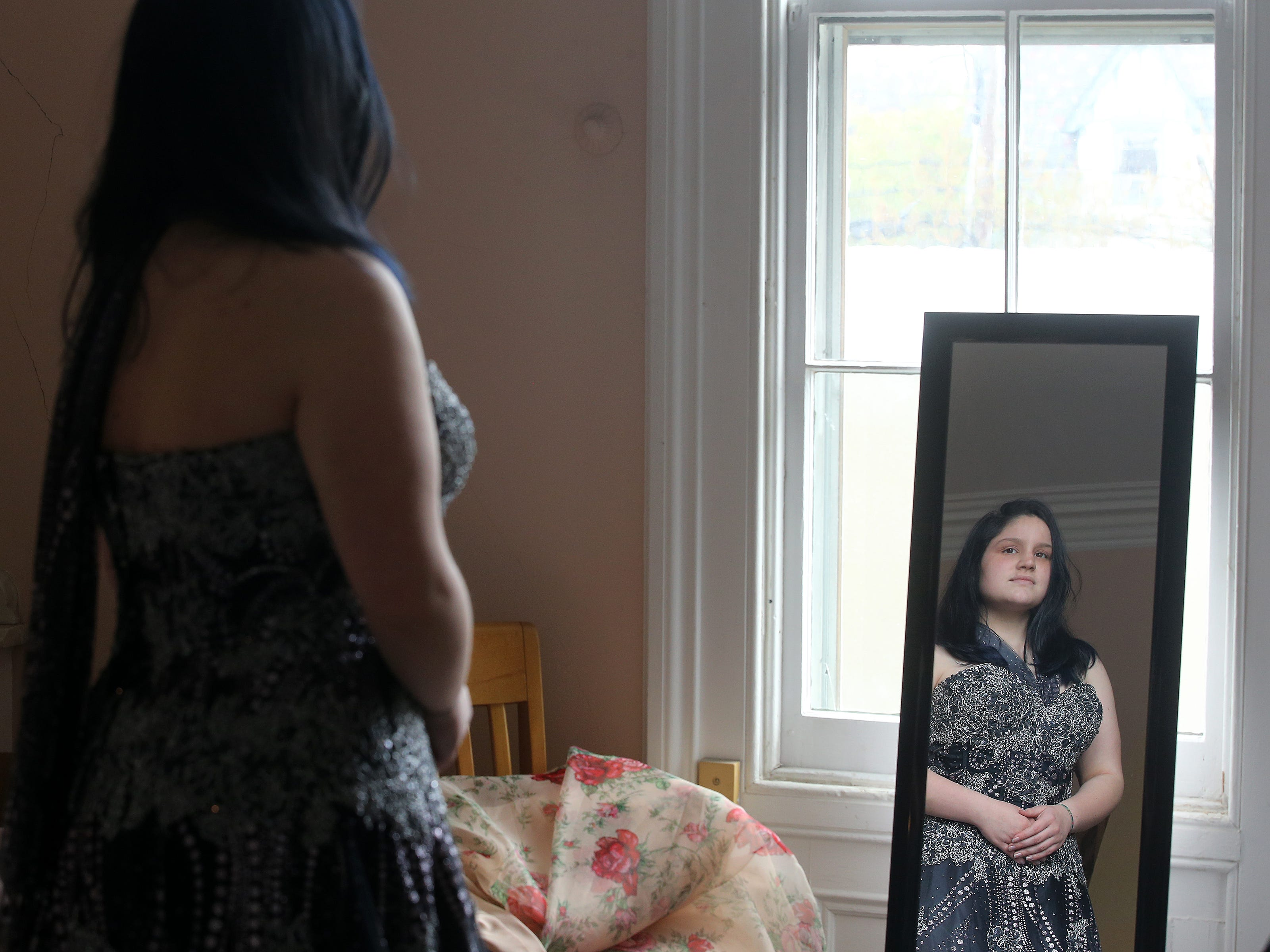 Laci Griffin, 14, of Freehold Boro searches for the perfect prom dress during Lunch Break's 4th Annual Prom Giveaway Event at the Woman's Club of Red Bank in Red Bank, NJ Monday, April 22, 2019.