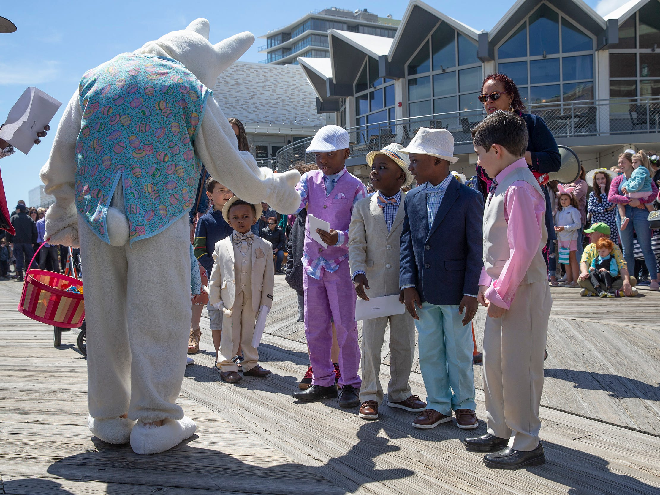 Boys judging at Asbury Park Easter Parade on the boardwalk outside the Paramount Theatre in Asbury Park on April 21, 2019.