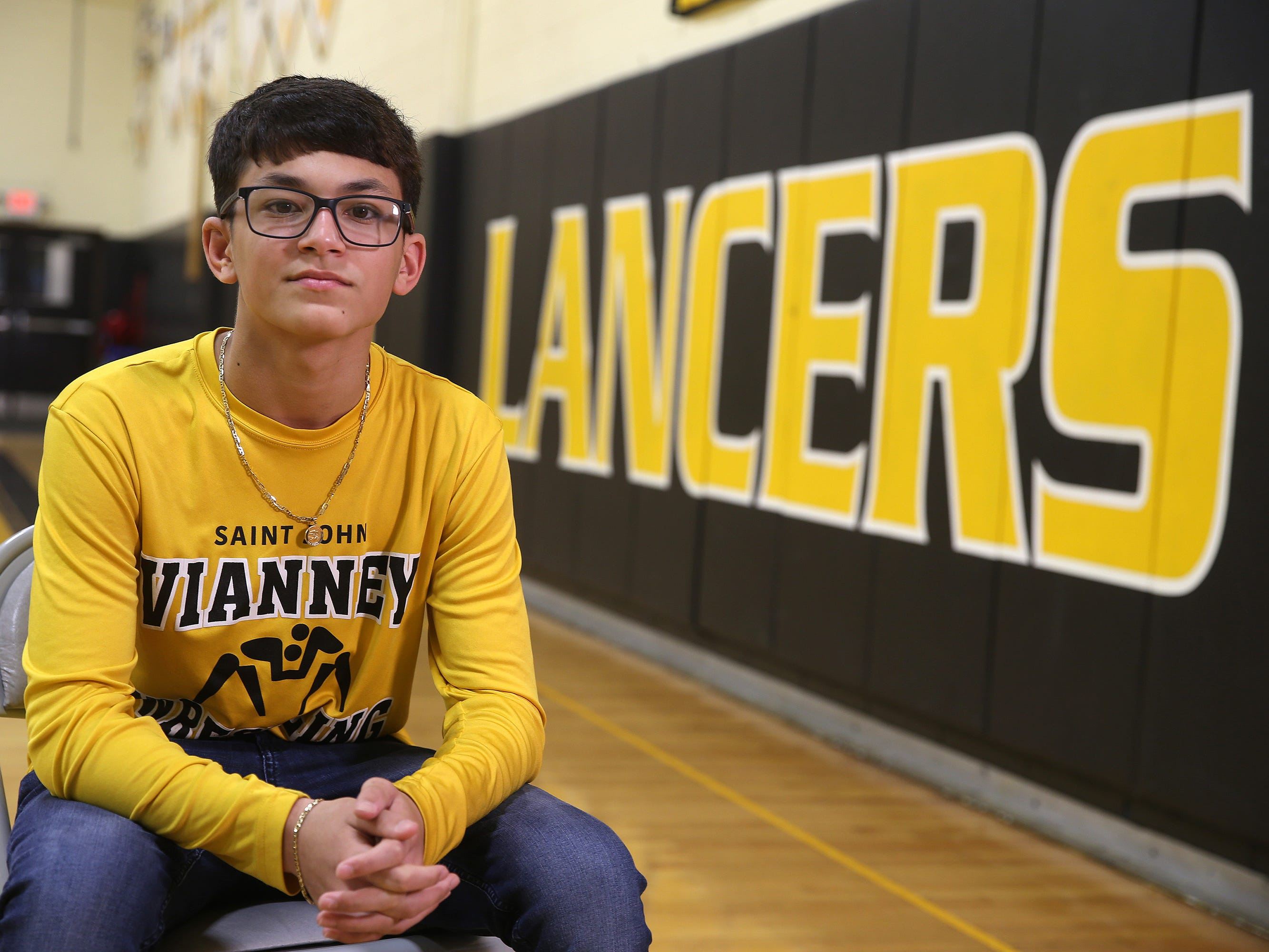 St. John Vianney High School freshman 106-pounder Nico Diaz, who is a nominee for the Courage Award at the Asbury Park Press Sports Awards, tells his story at St. John Vianney High School in Holmdel, NJ Friday, April 19, 2019. Diaz qualified for the NJSIAA Individual Wrestling Championships by finishing third in the NJSIAA Region V Tournament days after his father died suddenly in February. He then came within one win of earning a state medal in the state tournament.