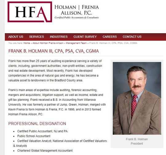 Website biography of Frank B. Holman III, who is a partner in a Toms River public accounting firm. He is expected to be the next Ocean County Republican chairman.
