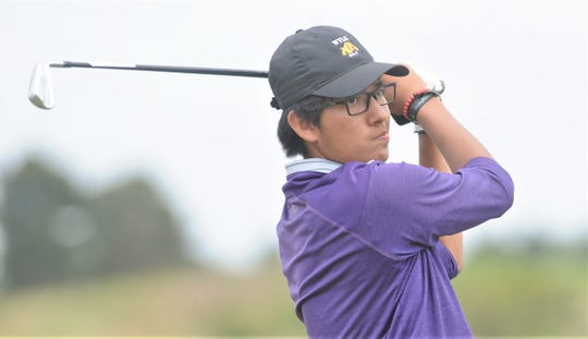 Wylie's Phillip Hurtado watches his tee shot from 16 during the first day of the Region I-5A boys golf tournament Wednesday, April 24, 2019, at Texas Tech's The Rawls Course in Lubbock. Hurtado shot a team-low 6-over-par 79 for the Bulldogs, who shot 333 as a team.