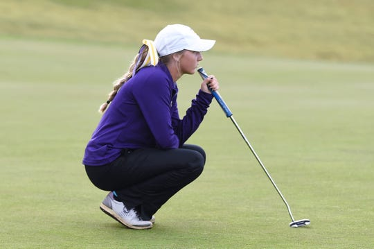 Wylie's Brylee Valentine competes during the first round of the Region I-5A girls golf tournament at The Rawls Course in Lubbock on Monday, April 22, 2019. The Lady Bulldogs placed third to qualify for the Class 5A state tournament.