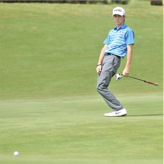 Cooper freshman Karson Grigsby reacts to his putt on hole No. 16 during the first round of the Region I-5A boys golf tournament April 24 at Texas Tech's The Rawls Course in Lubbock. Grigsby will compete in the Class 5A state tournament Monday and Tuesday at White Wing Golf Club in Georgetown.