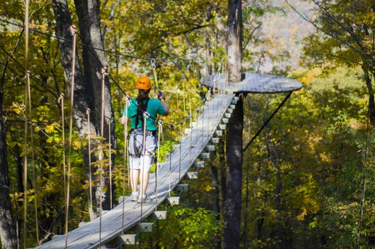 The Gorge Zipline near Saluda has three sky bridges, plus several ziplines and rappels.