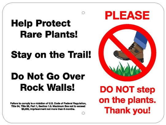 This is a sign that will be installed along the Craggy Pinnacle Trail on the Blue Ridge Parkway to remind visitors to stay on the trail.