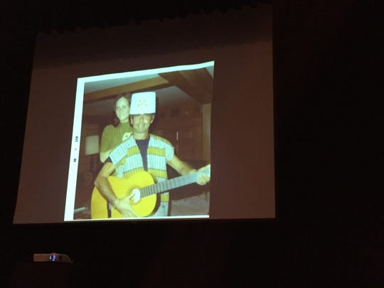 Anne Serling-Sutton, daughter of 'Twilight Zone' creator Rod Serling, brought in old family photos to show Binghamton City School District fifth graders during the district's annual Rod Serling Day Wednesday morning. In this photo, Serling is wearing a lampshade on his head.