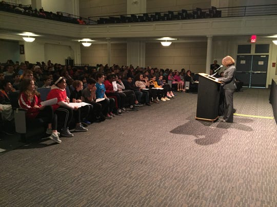 Binghamton City School District Superintendent Tonia Thompson addresses fifth grade students during the district's Rod Serling Day event Wednesday morning.