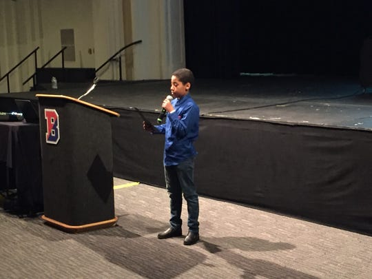 Kelvin Cotto, a fifth grade student at Theodore Roosevelt Elementary School, presents his idea for a modern-day 'Twilight Zone' episode during the Binghamton City School District's Rod Serling Day event Wednesday morning.