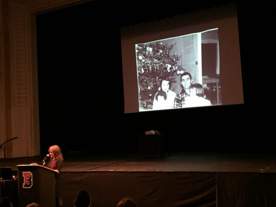 Anne Serling-Sutton, daughter of 'Twilight Zone' creator Rod Serling, brought in old family photos to show Binghamton City School District fifth graders during the district's annual Rod Serling Day Wednesday morning. In this photo, her family is celebrating Christmas.