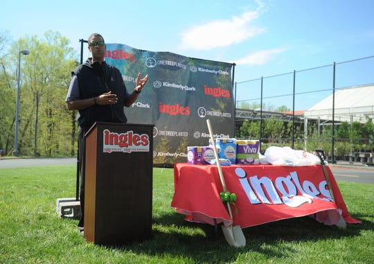 Black Mountain native Brad Daugherty returns to his hometown to announce a partnership between Ingles, Kimberly-Clark Corporation and nonprofit organization One Tree Planted, that will place 5,000 trees in communities in the southeast this year.