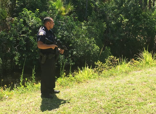 Melbourne police were canvassing a wooded area in the 200 block of Wickham Road April 24, 2019.
