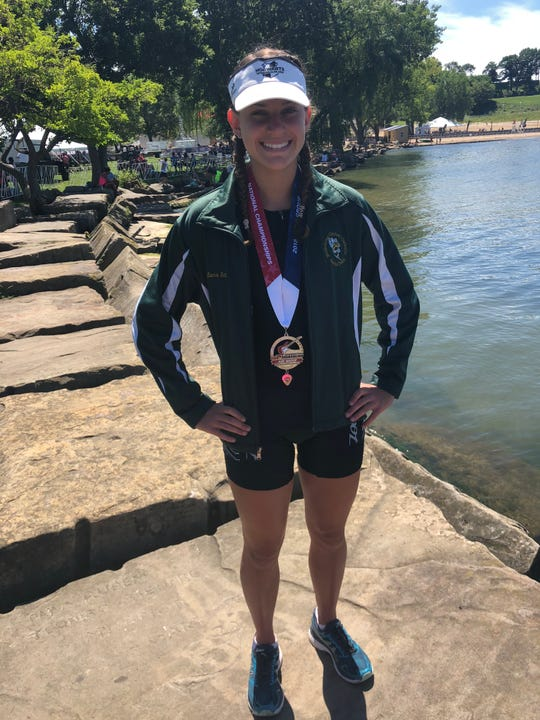 Sara Sutton, MCC athlete and Florida Diary Farmers Academic All-State selection, pictured at the USA Triathlon Olympic Age Group National Championships in August.