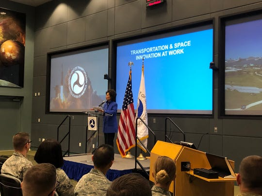 U.S. Transportation Secretary Elaine Chao discussed America's commercial space industry on April 24, 2019 at Kennedy Space Center.