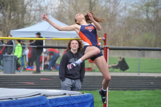 Kerrigan Myers had her eyes on her friend Marissa Gwinner's high jump record at Galion.