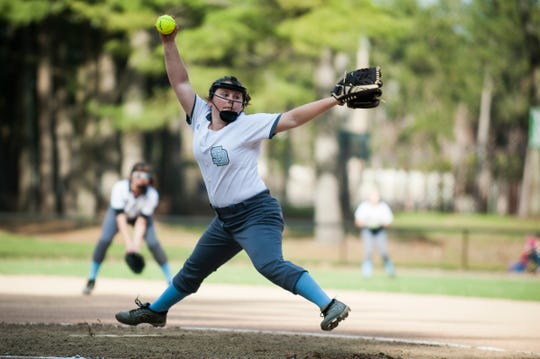 South Burlington pitcher Anna Borrazzo (9) delivers a pitch during the girls softball game between the South Burlington Wolves and the Burlington Sea Horses at Leddy Park on Tuesday afternoon April 23, 2019 in Burlington, Vermont.