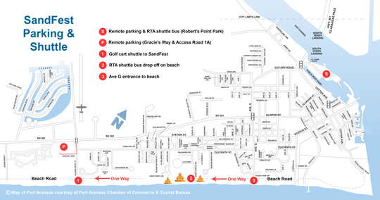 The SandFest 2019 map for shuttle and parking.
