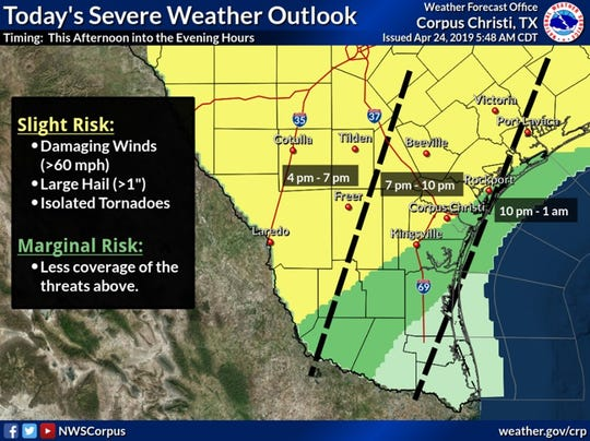 High winds and large hail is expected to hit South Texas late Wednesday, according to the National Weather Service Corpus Christi.