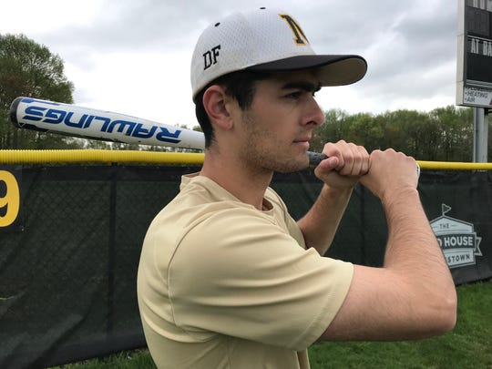 """Moorestown senior Kevin McCarthy is wearing the cleats of his friend and """"brother"""" Dane Fante, who passed away in a car accident in February 2018. McCarthy also has the initials """"DF"""" in his hat in Fante's honor."""