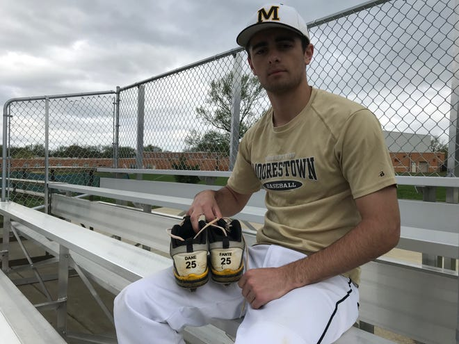 """Moorestown senior Kevin McCarthy is wearing the cleats of his friend and """"brother"""" Dane Fante, who passed away in a car accident in February 2018."""